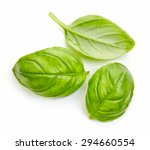 Fresh Basil Leaves Isolated On...