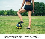 a fit and athletic young woman... | Shutterstock . vector #294669533