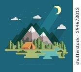 summer landscape. night in the...   Shutterstock .eps vector #294673013