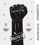 protest poster  raised fist... | Shutterstock .eps vector #294685973