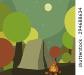 forest camp at night with a... | Shutterstock .eps vector #294688634