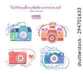 watercolor photo cameras set in ... | Shutterstock . vector #294701633