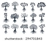 set of black trees and roots | Shutterstock .eps vector #294701843