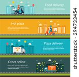 pizza and food delivery web... | Shutterstock . vector #294733454