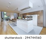 Stock photo bright kitchen avant garde style kitchen cabinets and countertop bar with dark wood texture and 294744560