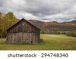 ruined barn  autumn background