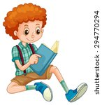 boy with red curly hair reading ...