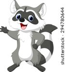 cute raccoon cartoon waving | Shutterstock .eps vector #294780644