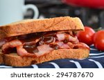 bacon sandwich with lashings of ... | Shutterstock . vector #294787670