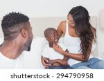 happy family on the bed at home ... | Shutterstock . vector #294790958