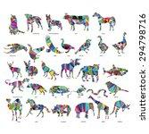 big animal set  jerboa  giraffe ... | Shutterstock .eps vector #294798716