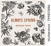 vintage vector floral card.... | Shutterstock .eps vector #294853886