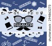 retro summer vector flat... | Shutterstock .eps vector #294863273