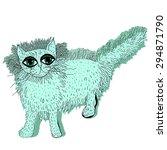 Cute Green Cat. Vector...