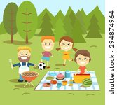 family picnic on vacation ... | Shutterstock .eps vector #294874964
