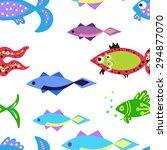 seamless vector marine... | Shutterstock .eps vector #294877070