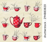 set of tea collection with a... | Shutterstock .eps vector #294883820
