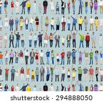 multiethnic casual people... | Shutterstock . vector #294888050