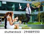 Brave Businessman Jumping Over...