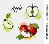 Apple. Watercolor Painting On...