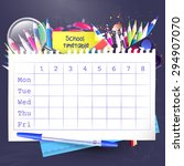 school weekly timetable with... | Shutterstock .eps vector #294907070