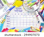 school weekly timetable with... | Shutterstock .eps vector #294907073
