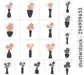 Set Of Flowers In Vase...