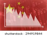 Flag Of China. Downtrend Stock...