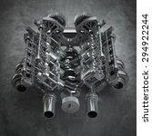 v8 turbo car engine on grunge... | Shutterstock . vector #294922244