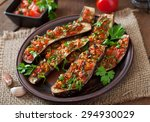 baked eggplant with tomatoes ... | Shutterstock . vector #294930029