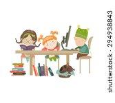 friends doing homework. vector... | Shutterstock .eps vector #294938843