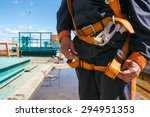 Builder Worker in safety protective equipment on bridge construction - stock photo