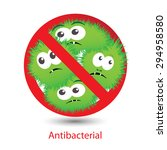 antibacterial sign with a funny ... | Shutterstock .eps vector #294958580
