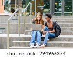 Small photo of Young female college students