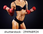 muscle woman does sports... | Shutterstock . vector #294968924