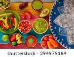 mexican food mixed guacamole... | Shutterstock . vector #294979184