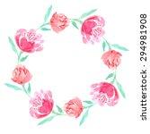 watercolor floral wreath of... | Shutterstock . vector #294981908