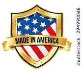 made in america golden shield...   Shutterstock .eps vector #294990068