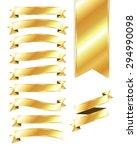 set of blank gold ribbons   Shutterstock .eps vector #294990098