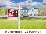 home for sale real estate sign... | Shutterstock . vector #295004414