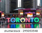 Stock photo toronto canada july the new toronto sign in nathan phillips square celebrating the panam 295053548