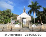Small photo of ST BARTS, FRENCH WEST INDIES - JUNE 11, 2015:St Bartholomew's Anglican Church in Gustavia on St Barts.