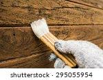 varnish painting wooden surface ... | Shutterstock . vector #295055954