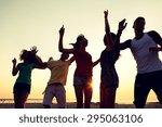 friendship  summer vacation ... | Shutterstock . vector #295063106