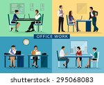 set of business people working... | Shutterstock .eps vector #295068083