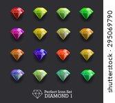 icons glowing gems  diamonds   Shutterstock . vector #295069790