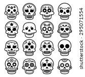 halloween  mexican sugar skull  ... | Shutterstock .eps vector #295071554