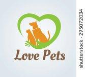 Stock vector love pets vector logo template 295072034