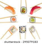 different sushi and rolls in... | Shutterstock . vector #295079183