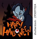 halloween greeting card with... | Shutterstock .eps vector #295097024
